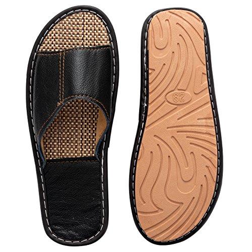 Toe Non Slip Leather Black Sandals Indoor Slippers Mens On Slip Womens Slipper Open FxnWwWqIBf