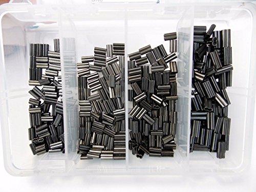 (Mini Copper Double Barrel Crimp Kit 100pcs each .6,.8,1.0,1.2mm 30-100lb test)