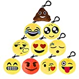 Kuuqa Emoji Plush Pillows Keychain Emoji Decoration, Emoji Party Supplies (10 Pack)