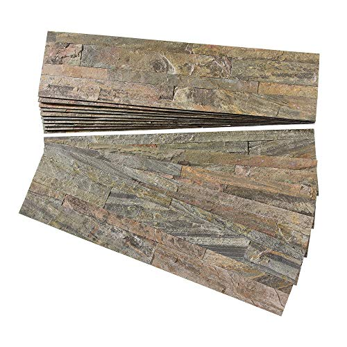 Aspect Peel and Stick Stone Overlay Kitchen Backsplash - Weathered Quartz (Approx. 15 sq ft Kit) - Easy DIY Tile ()