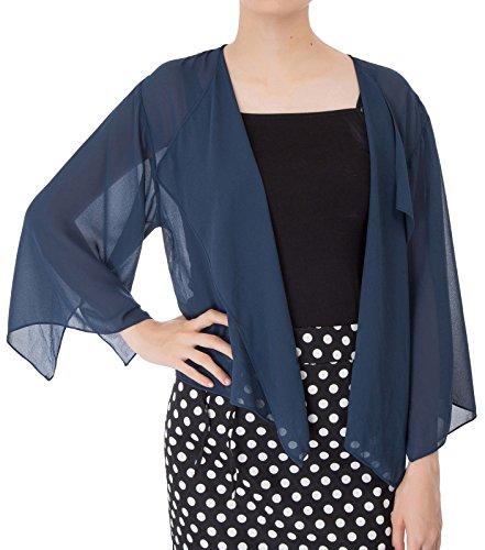 Kate Kasin Women Summer Cardigans Chiffon Loose Kimono Cardigan Capes Bolero Shrug S-XXL