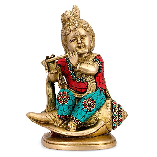CraftVatika Baby Krishna Sitting on Conch Brass Statue with Inlay Work, 8 Inches Height