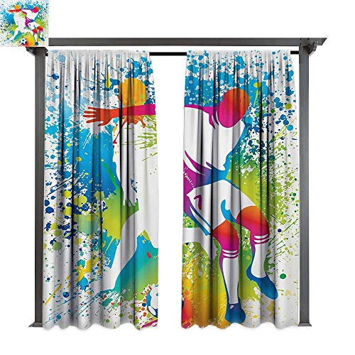 (bybyhome Extra Wide Outdoor Curtain Youth Football Players with a Soccer Ball and Colorful Grunge Splashes Competition Sports W96 xL84 Suitable for Front Porch,pergola,Cabana,Covered)