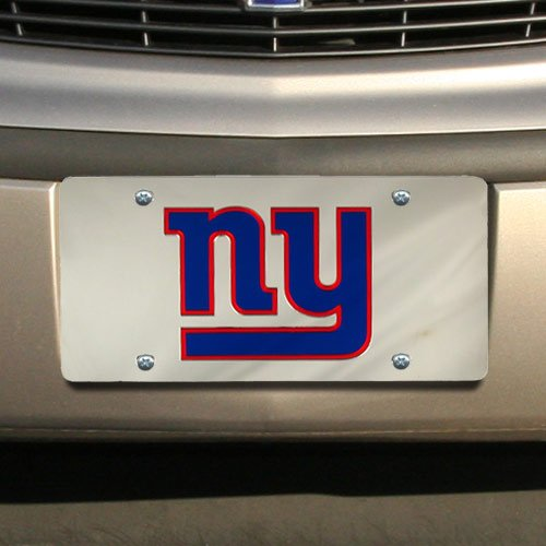 NFL New York Giants Silver Mirrored License Plate