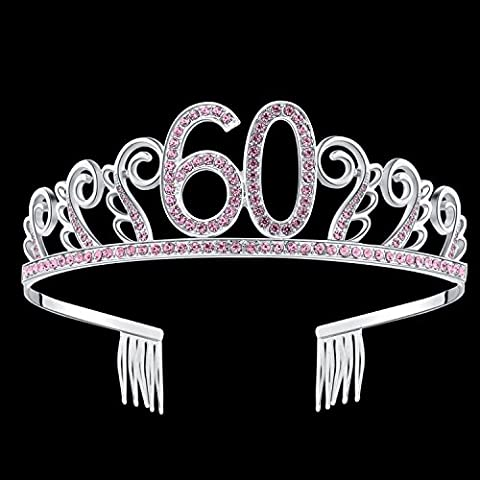 BABEYOND Crystal Rhinestone Tiara Princess Crown Birthday Crowns Silver Diamante Happy 18/20/21/30/40/50/60th Birthday - Princess Crown Water