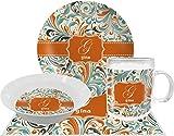 Orange & Blue Leafy Swirls Dinner Set - 4 Pc (Personalized)