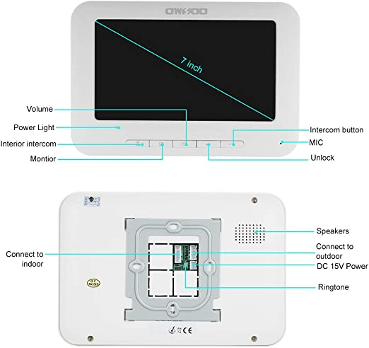 OWSOO 7 Pulgadas Videoportero Cableado 2 Monitor Interior + 1 Cámara Exterior IR-Cut Impermeable Soporte Visual de Dos Vías Intercom Audio Desbloqueo ...