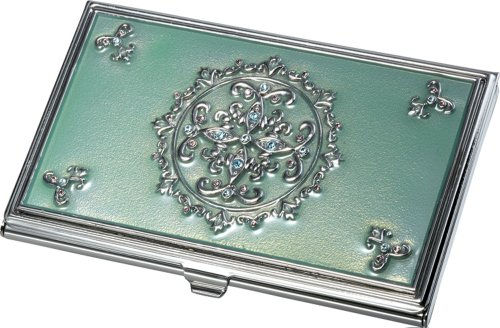 Visol Products Ivy Light Green with Embedded Crystals Business Card Holder
