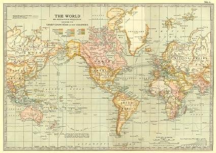 World: diseño de proyección Mercator carcasa colonias, 1903 de mapamundi antiguo