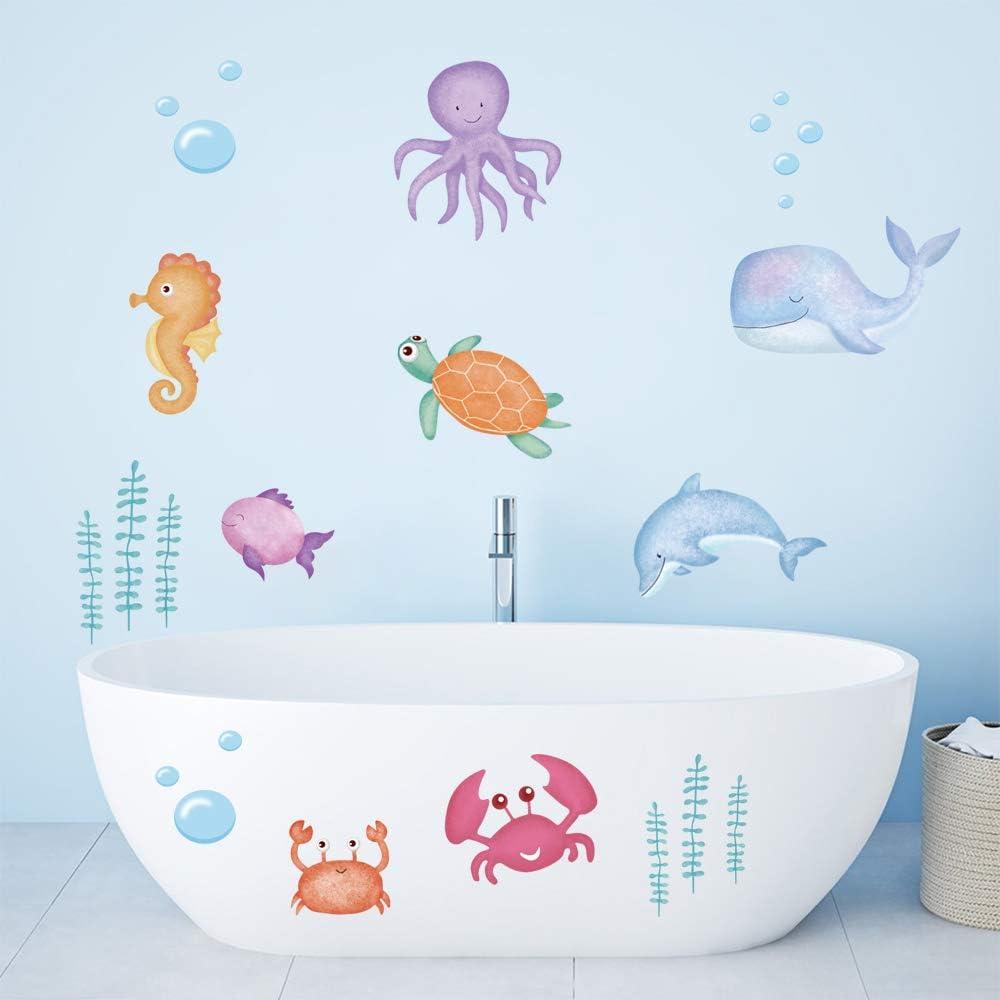 ufengke Under The Sea Kids Wall Stickers Marine Fish Seaweed Wall Decals Art Decor for Nursery Children Bedroom