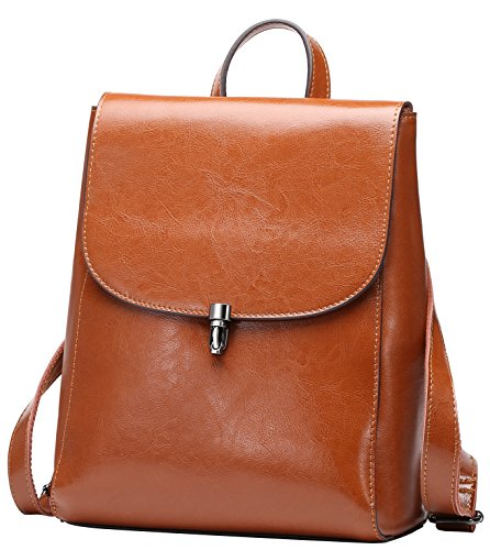 Purse Brown With Flap Genuine Vintage Fashion Leather Leather Mini Backpack College For Travel Women Backpack xfqwHT4vf