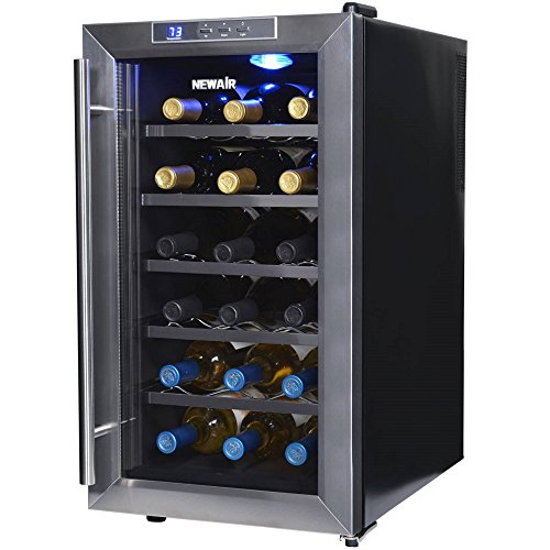 NewAir AW-181E 18 Bottle Thermoelectric Wine Cooler, Black (Air Cooler Beverage Bottle)