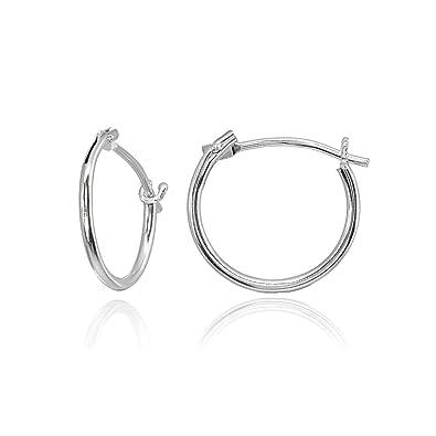b0b8e62c2da Amazon.com  14K White Gold Tiny Small 12mm High Polished Round Thin  Lightweight Unisex Hoop Earrings for Men Women Girls  Jewelry