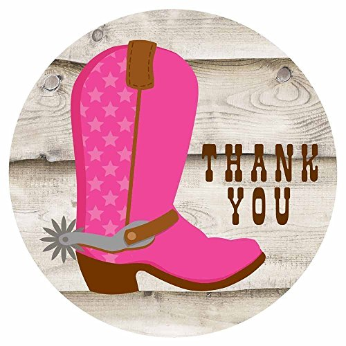 Cowgirl Boot Thank You Sticker Labels - Birthday Baby Shower Party Favors Envelope Seals - Set of 30 by Adore By Nat