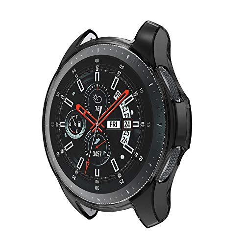 Sietore Compatible S3/Galaxy Watch 46mm Case, Ultra-Thin Lightweight Shock Proof Protective Case (Soft TPU) for S3/Galaxy Watch 46mm Smartwatch(BK)
