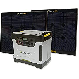 Goal Zero Yeti Solar Generator 6 Material: [battery] sealed lead-acid (AMG), [solar panels] monocrystalline Capacity: 1200Wh Output: USB, 12V, AC, Anderson Power Pole
