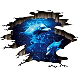 Quanhaigou 3D Space Galaxy Wall Stickers, Blue Dolphin in The Ocean Starry Sky Wall Decals Home Art Decor for Kids Babys Children Bedroom Rooms Ceiling Living Room Nursery
