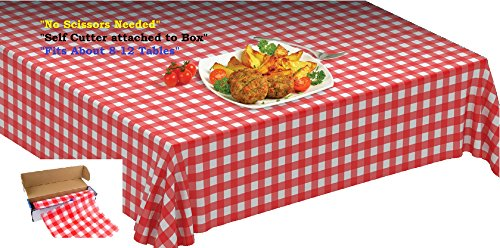 Gingham Plastic Tablecloth Roll , Disposable Plastic Tablecloths On a Roll With Self Cutter Box,Cut Tablecloth To Own Table Size, Perfect For Kitchen or Picnic Table, Indoor/Outdoor Use