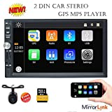 Eincar 7 Inch Touch Screen Double Din Car Stereo With Bluetooth GPS Navigation MP5 Player HD Radio Support Mirror Link USB SD 1080P Video Play AUX FM AM SWC + Free Rear Camera Included!