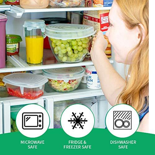 Couvercles en Silicone, Phyles 6 pcs Couvercles Extensibles en Silicone Réutilisable Couvercle Universel/Conservation des aliments, Protection Alimentaire, Convient au Micro-ondes/le four/le frigo