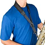 Protec 24-Inch Ballistic Neoprene Less-Stress Saxophone Neck Strap with Coated Metal Hook-Black