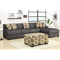 3 pieces Faux Linen Sectional Sofa with Ottoman (Ash Black)