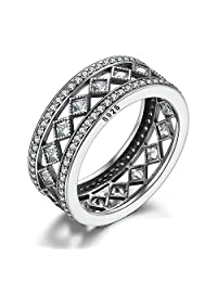 PAHALA 925 Sterling Silver Square Crystals Vintage Cubic Zirconia Pave Wedding Engagement Band Ring