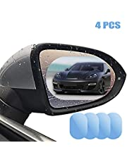 """Car Rearview Mirror Film Rainproof, GOGOLO 4""""*6"""" HD Waterproof Anti-Fog Rear View Mirror Protective Film for Universal Vehicle SUV Truck Side Windows Mirror, (Pack of 4)"""