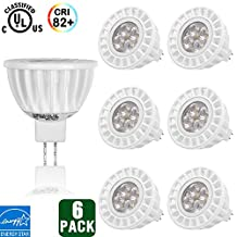 Hykolity MR16 LED Spot Light Bulb, 6W, GU5.3, 50W Halogen Bulbs Equivalent, 380 lm, 3000K Warm White, 12V, 36 degree Beam Angle, Landscape Bulbs, Recessed Lights, UL-listed and ENERGY STAR - Pack of 6