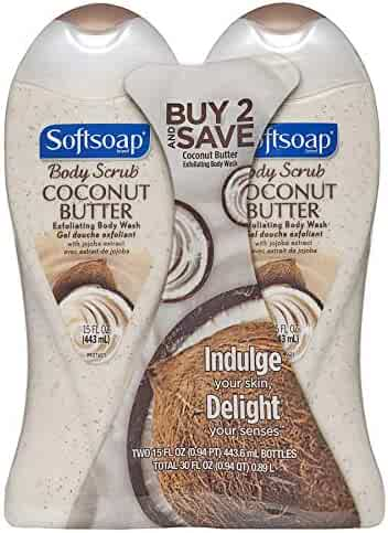 Softsoap Body Butter Coconut Scrub, Body Buff Wash 15 oz (Pack of 2)