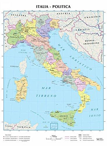 Cartina Politica E Fisica Italia.Italia 1 1 100 000 Carta Murale Telata Con Aste Metalliche Cm 98x138 Amazon It Libri