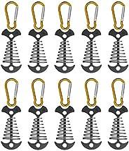 NACETURE Fishbone Tent Rope Tightener with Carabiner Clips - Aluminum Deck Tie Down Anchor | Cord Adjuster Ten