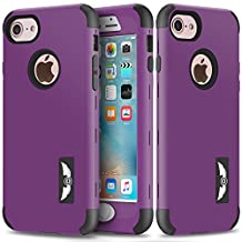 iPhone 7 Case, NOKEA Hybrid Heavy Duty Shockproof Full-Body Protective Case Ultra Slim Bumper Cover 3 in 1 Shield Soft TPU Hard PC Dual Layer Impact Protection for Apple iPhone 7 (2016) (Purple)