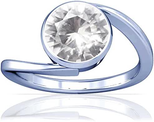 Platinum Round Cut White Sapphire Womens Astrological Ring