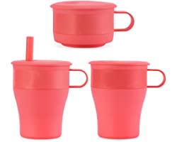 TX Collapsible Silicone Travel Mug Cup On The Go Folding Coffee Cup Pocket Size 16oz / 473ml with Straw (Eraser Pink)