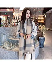 nwn Shawl Scarf Female Autumn and Winter Shawl Korean Version of The Simple Tassel Warm Cashmere Student Dual-use (Color : B)