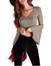 HaoDuoYi Women's Full Flare Sleeve V Neckline Crop Slim T Shirt Top
