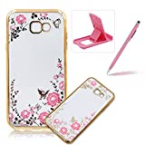 Rubber Case For Galaxy A5 2017,For Galaxy A5 2017 Clear Case Soft TPU Back Cover With Bling Glitter Design,Herzzer Luxury Gold Electroplate Plating Bumper Frame Pink Flower Pattern Crystal Smart Skin Case