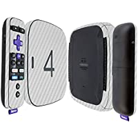 Skinomi TechSkin - Roku 4 Silver Carbon Fiber Full Body Skin / Front & Back Wrap Clear Film / Ultra HD and Anti-Bubble Invisible Shield