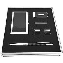 Carbon Fiber Set Gift For Men: Pen, Money Clip, Bar Tie, Cufflinks, Business Card Holder. SHOPTOTUM