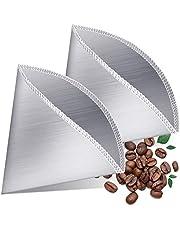 Bayda Herbruikbare Giet over Koffiefilter Staal Fijne Mesh Koffiefilter Druppel Kegel Paperless Universele Koffiefilter 2 st