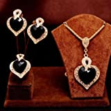 3PCS The queen of hearts crystal Necklace Earrings Ring womens Jewelry Sets#by pimchanok shop (Black)