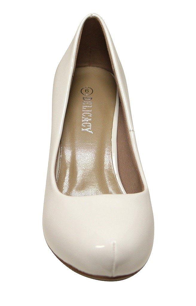 Delicacy Toe Riley-74 Women's Round Toe Delicacy Slip on Patent Pumps Stilettos Shoes B01I61JKUA 7 M US|White 6037d5