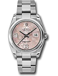 Oyster Perpetual Datejust 36mm Stainless Steel Case, Domed Bezel, Pink Floral Dial, Arabic. Rolex