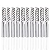 HQMaster 10 Pack 6mmEnd Mill Milling Cutter CNC Spiral Router Bits Tungsten Steel 22mm Flute Length, Upcut Cutting Tool for Acrylic PVC ABS Plywood Hardwood (Color: Silver)