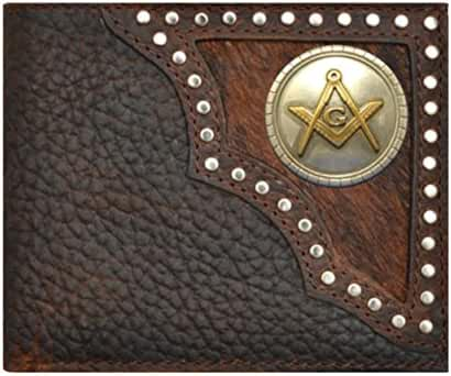 Custom New Masonic Square and Compass Justin Brown Hair on Hide Bi-Fold Wallet