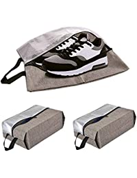 3 PACK Travel Shoe Bags with Zippered & Handle Strap CGBE Visible Nylon Mesh Travel Accessories Carrying Organizers Portable Carrying Pouch Waterproof bag X-L(Khaki)