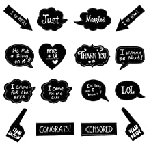 Wedding Photo Booth Props BizoeRade 16pcs Chalkboard Signs Party Props With Funny Message for Wedding Party