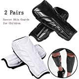 2 Pairs Kids Soccer Shin Guards for Children 6-14 Years Old, 5mm Thicken EVA Soccer Shin Guards Protective Gear Soccer Equipment forKids, Boys, Girls
