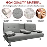 MOOSENG Home Convertible Futon Sofa Bed Modern Faux Leather Fold Up and Down Recliner Couch, 2 Cup Holders, Gray